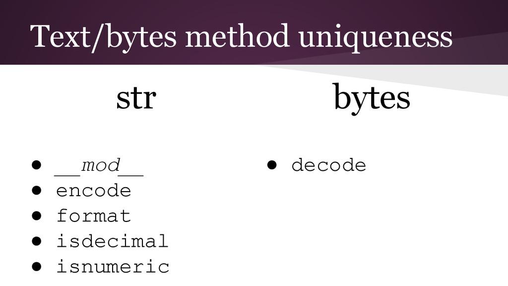 Text/bytes method uniqueness str ● __mod__ ● en...