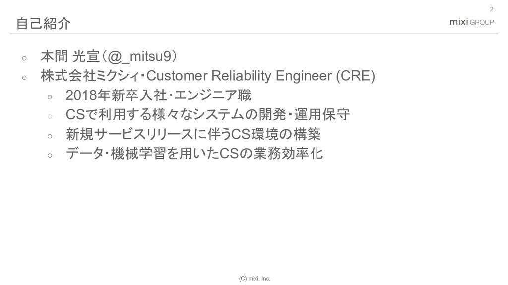 (C) mixi, Inc. ○ 本間 光宣(@_mitsu9) ○ 株式会社ミクシィ・Cus...