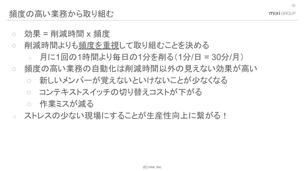 (C) mixi, Inc. ○ 効果 = 削減時間 x 頻度 ○ 削減時間よりも頻度を重視し...