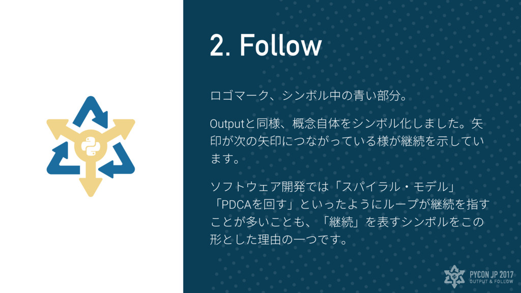 OUTPUT & FOLLOW PYCON JP 2017 2. Follow ロゴマーク、シ...