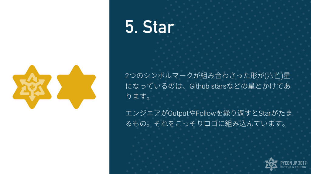 OUTPUT & FOLLOW PYCON JP 2017 5. Star 2つのシンボルマー...