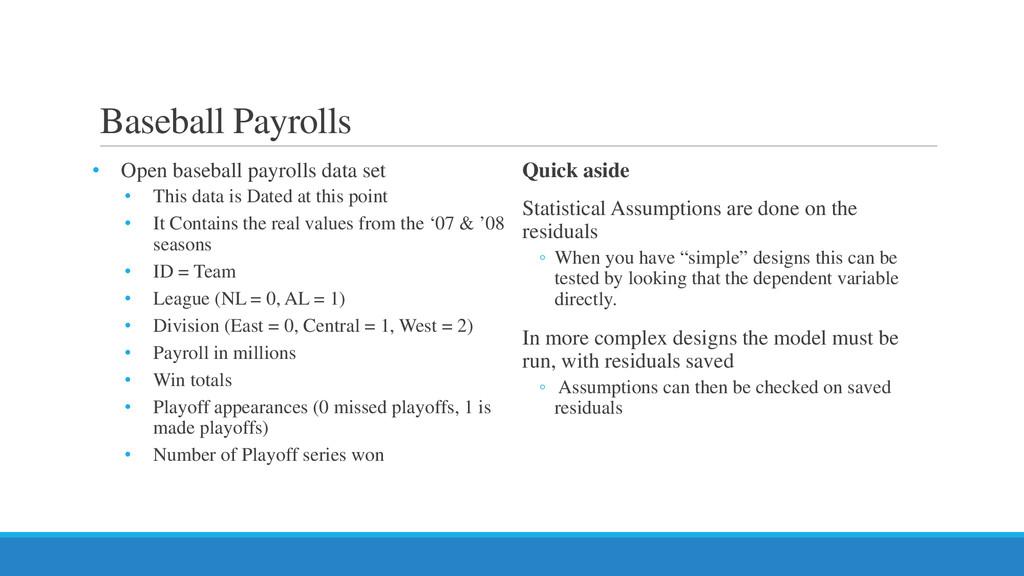 Baseball Payrolls • Open baseball payrolls data...