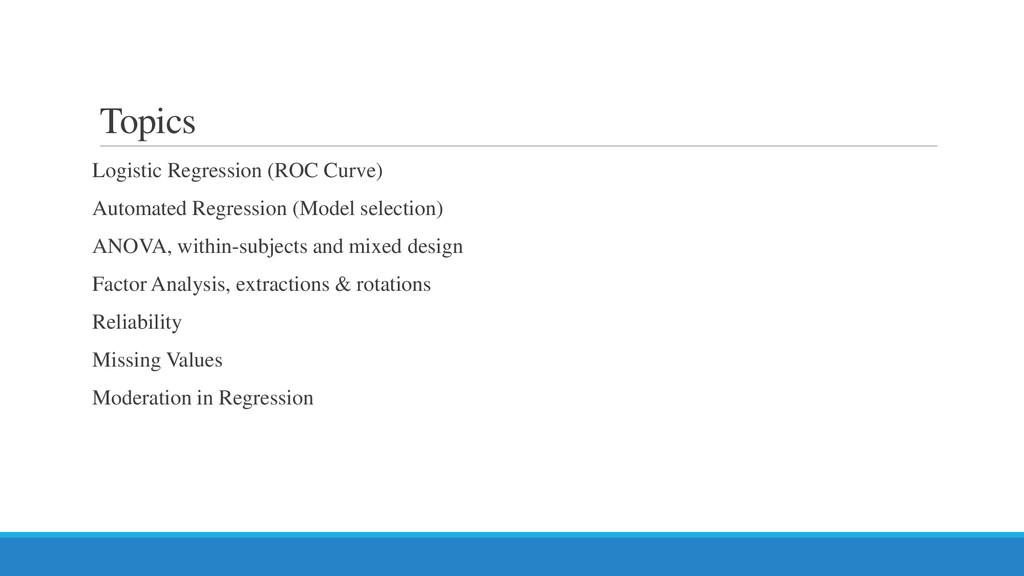 Topics Logistic Regression (ROC Curve) Automate...