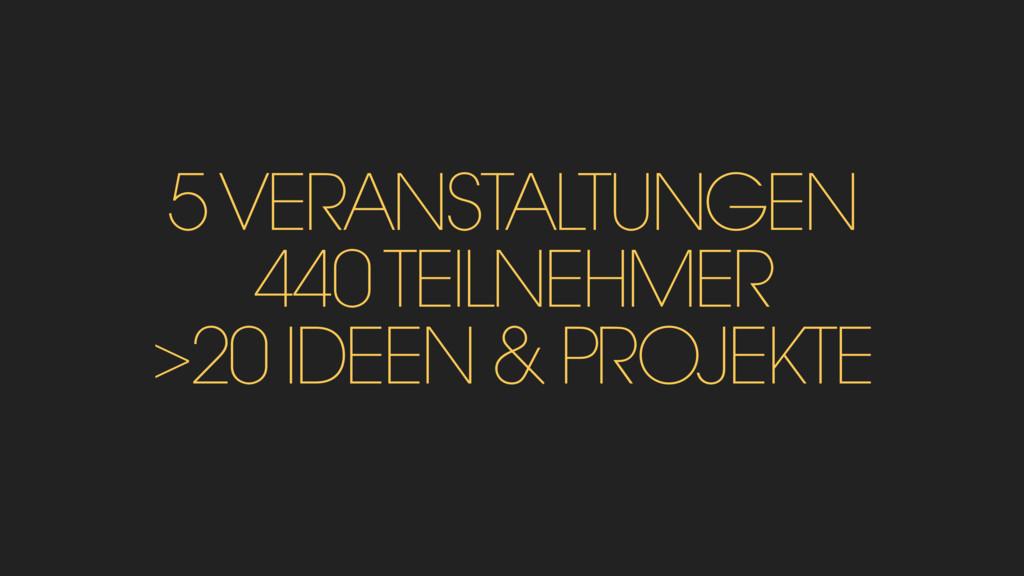 5 VERANSTALTUNGEN 440 TEILNEHMER >20 IDEEN & PR...