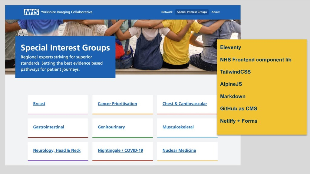 Eleventy NHS Frontend component lib TailwindCSS...
