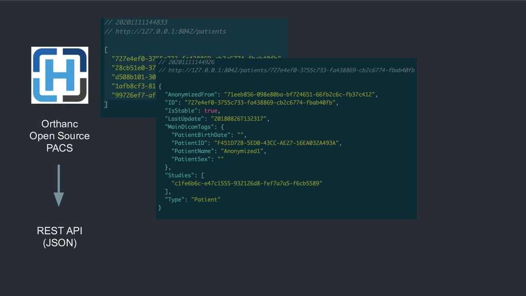 Orthanc Open Source PACS REST API (JSON)