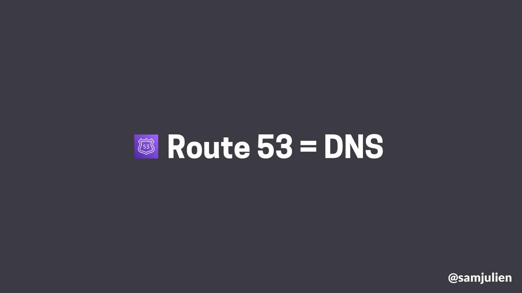 @samjulien Route 53 = DNS