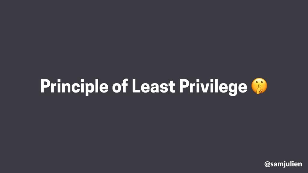 @samjulien Principle of Least Privilege 🤫