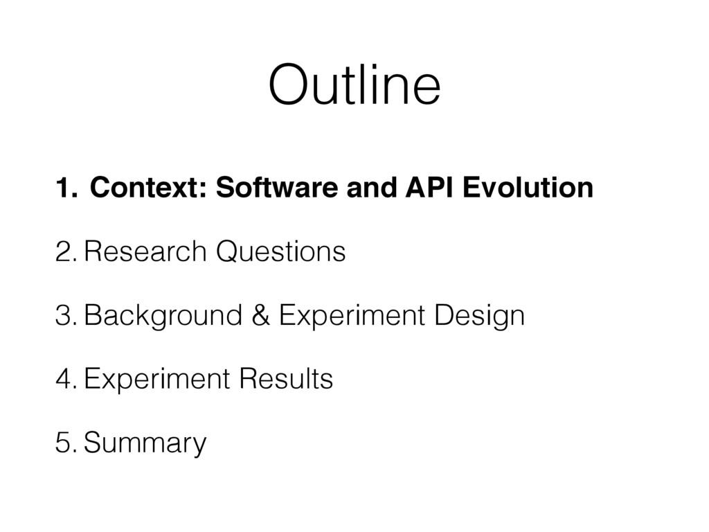 Outline 1. Context: Software and API Evolution!...