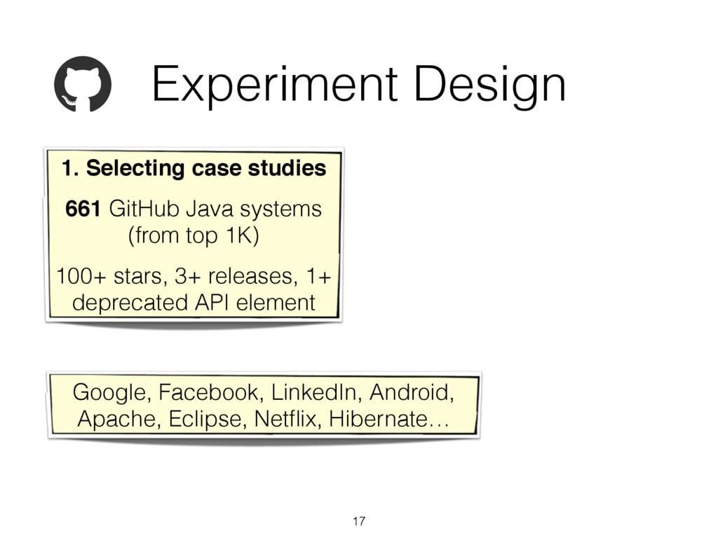 Experiment Design 17 1. Selecting case studies!...