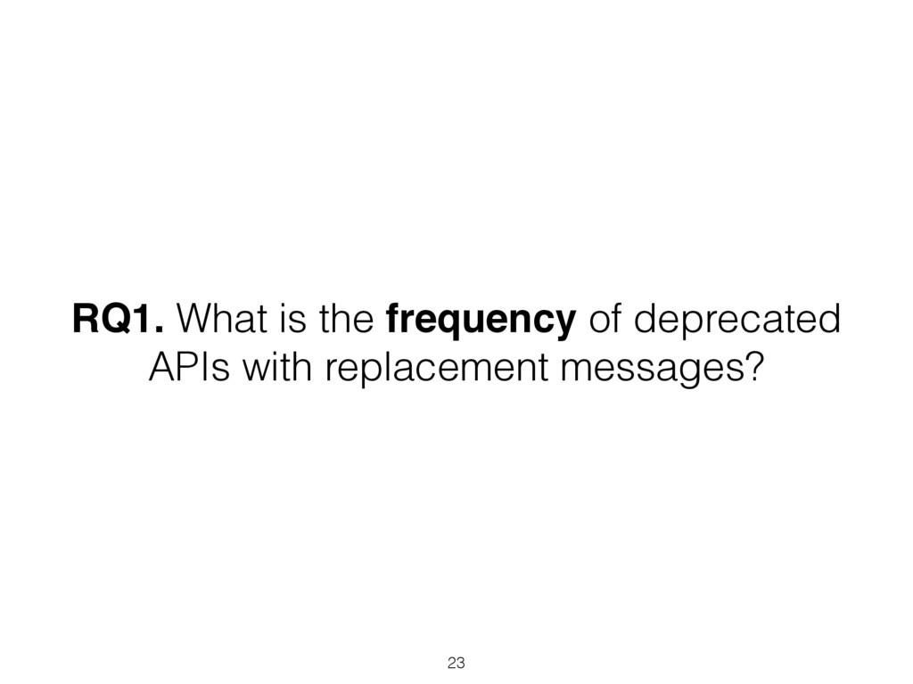 RQ1. What is the frequency of deprecated APIs w...