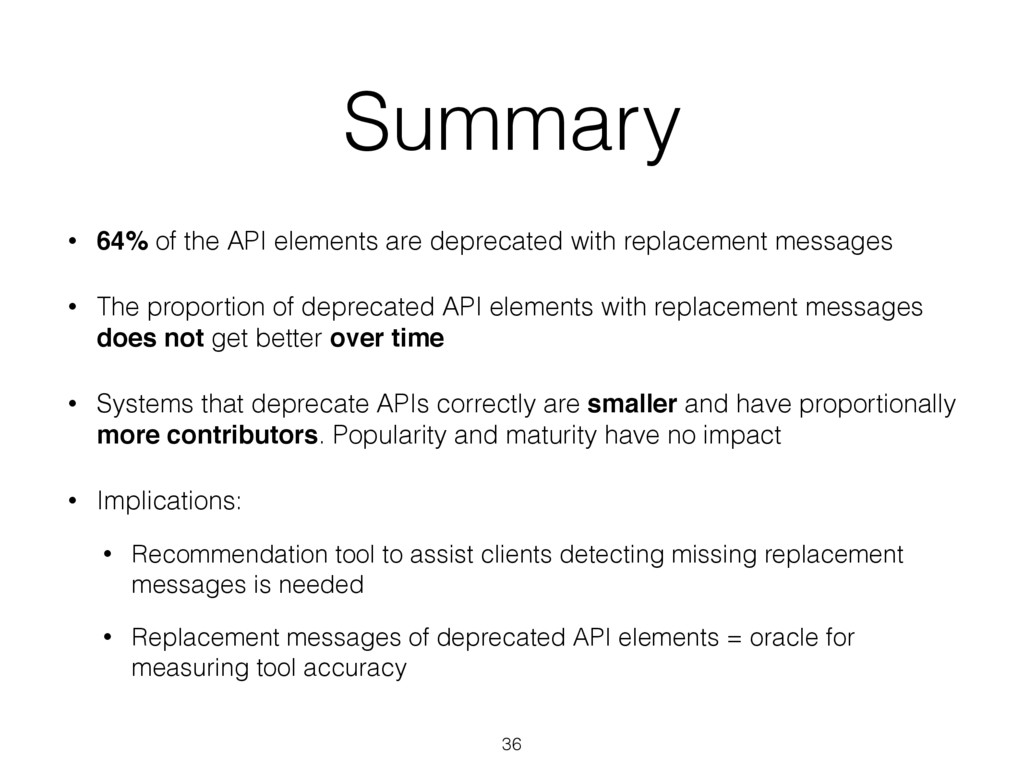 Summary • 64% of the API elements are deprecate...