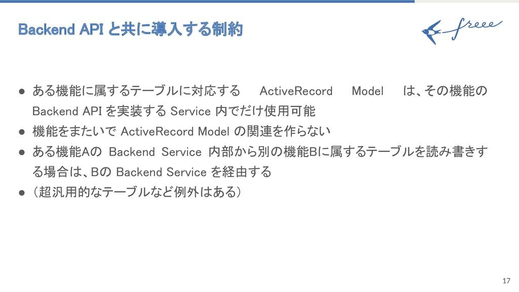 ● ある機能に属するテーブルに対応する ActiveRecord Model は、その機能の ...
