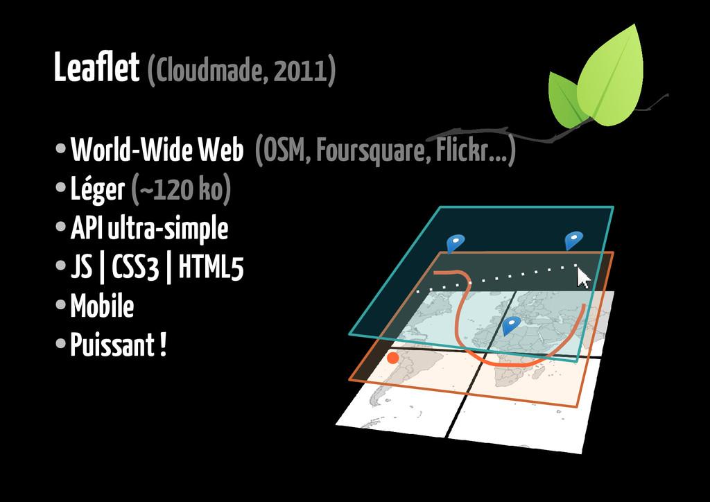Leaflet (Cloudmade, 2011) ● World-Wide Web (OSM...