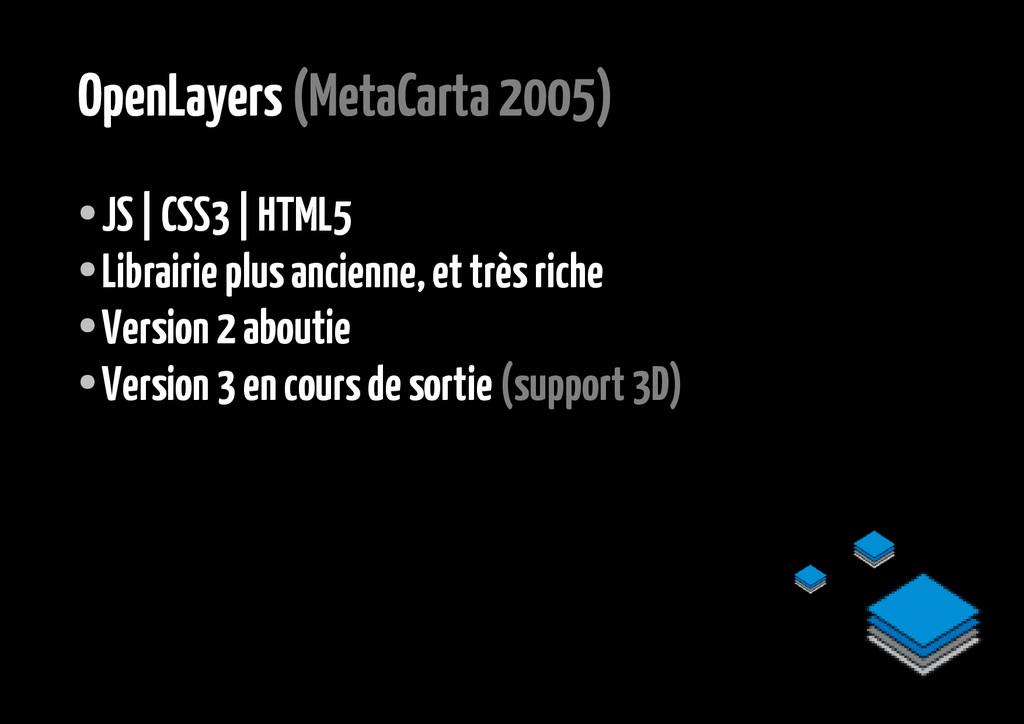 OpenLayers (MetaCarta 2005) ● JS | CSS3 | HTML5...