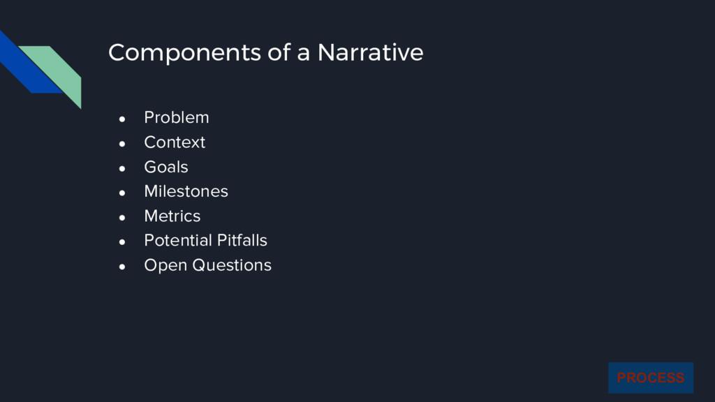 Components of a Narrative ● Problem ● Context ●...