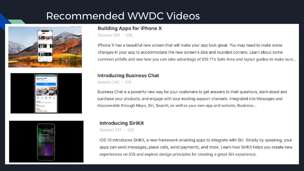 Recommended WWDC Videos