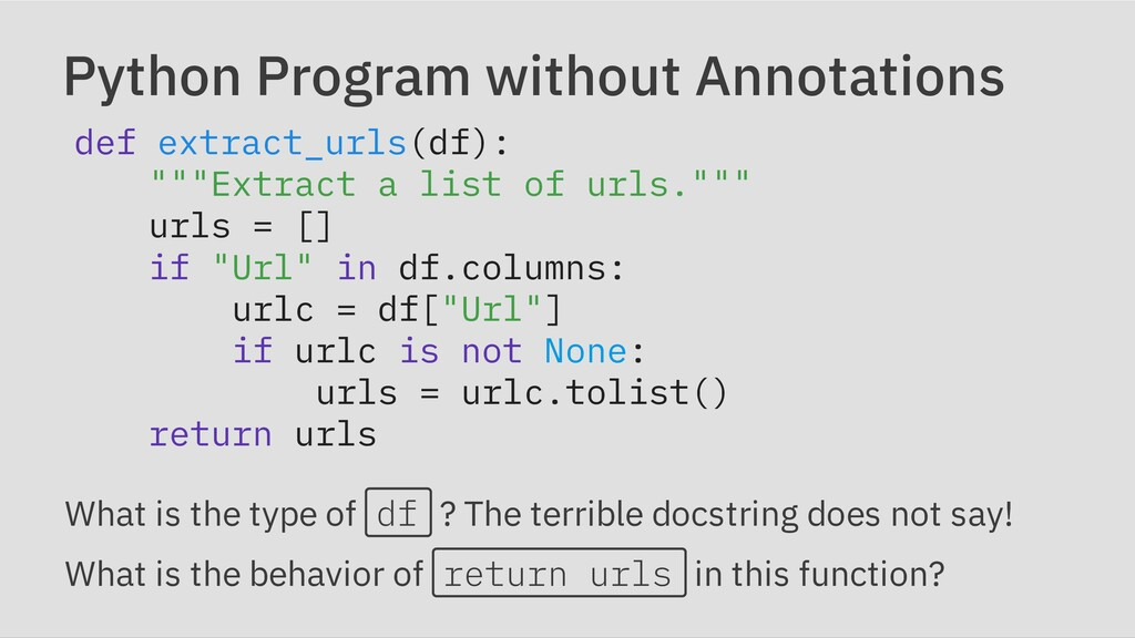 Python Program without Annotations def extract_...