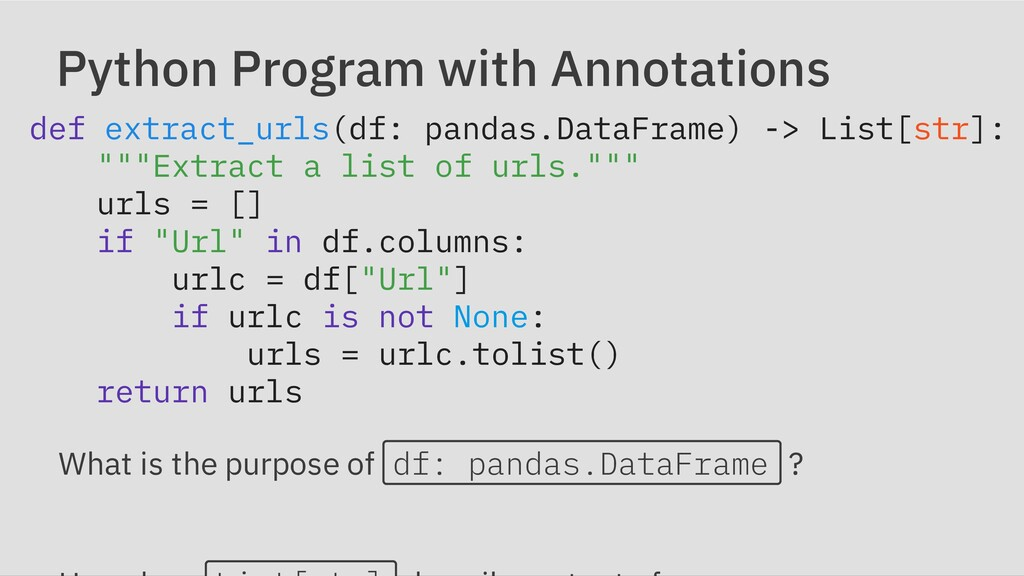 Python Program with Annotations def extract_url...