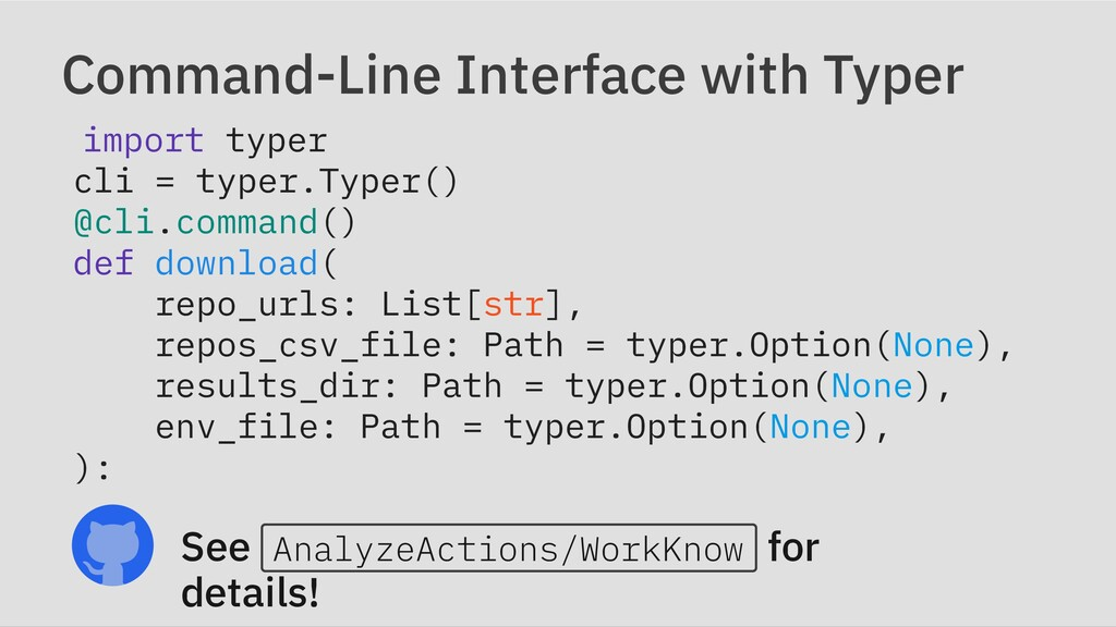 Command-Line Interface with Typer import typer ...