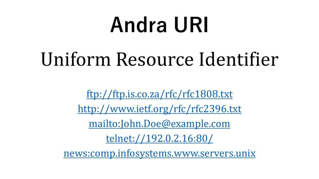 Andra URI Uniform Resource Identifier ftp://ftp...