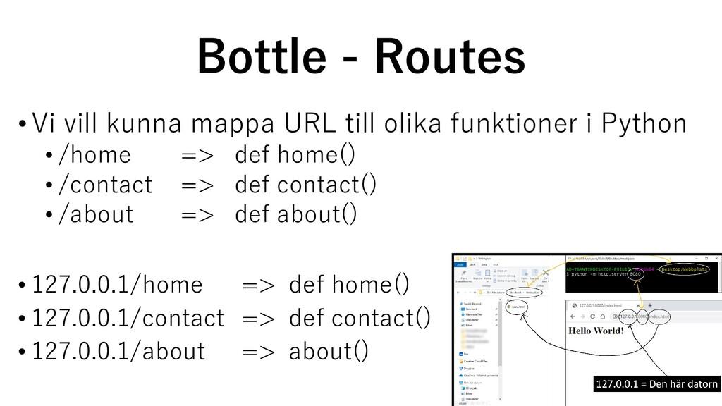 Bottle - Routes •Vi vill kunna mappa URL till o...