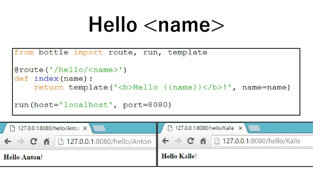 Hello <name>
