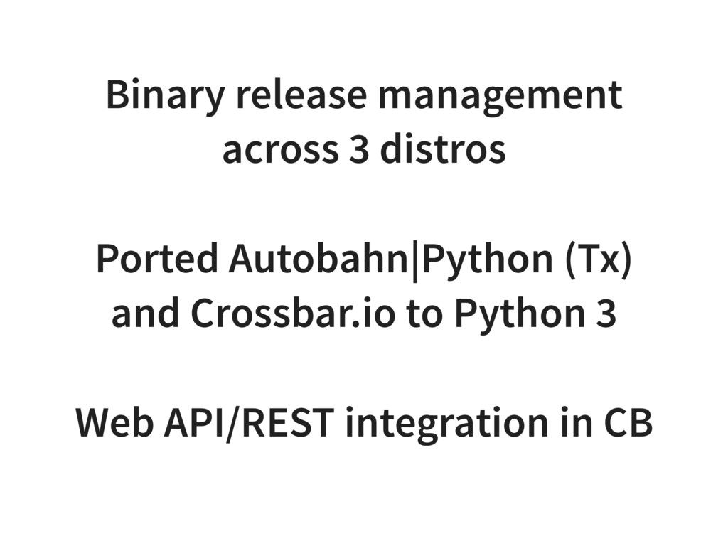 Binary release management across 3 distros Port...