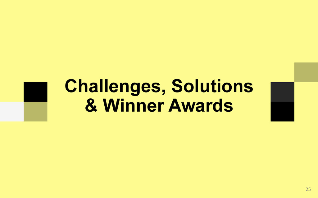 25  Challenges, Solutions & Winner Awards