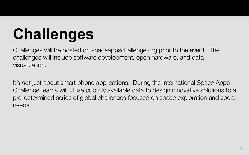 Challenges will be posted on spaceappschallenge...