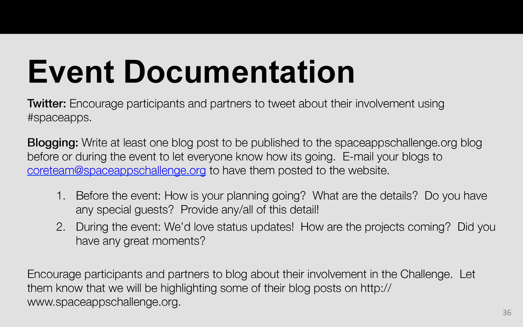 Twitter: Encourage participants and partners to...