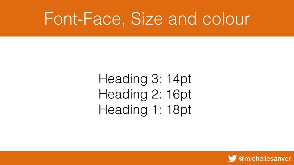 @michellesanver Font-Face, Size and colour Head...
