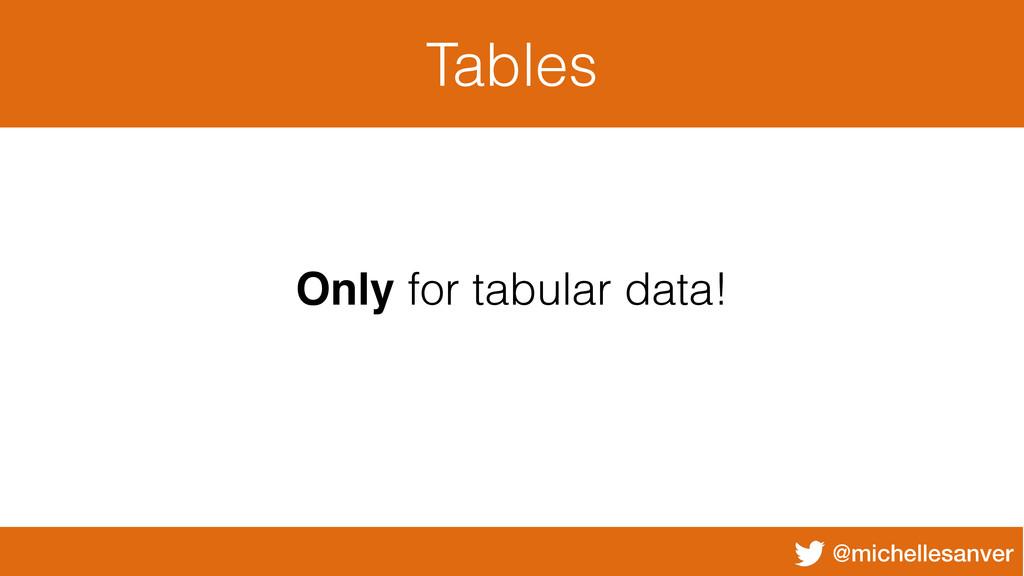 @michellesanver Tables Only for tabular data!