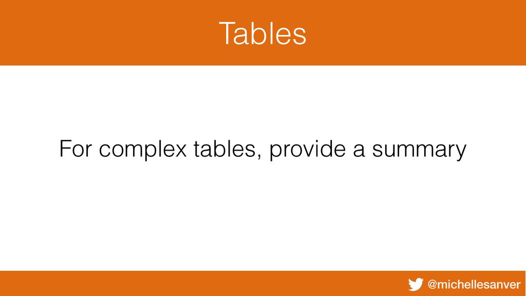 @michellesanver Tables For complex tables, prov...