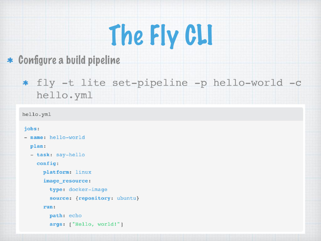 The Fly CLI Configure a build pipeline fly -t li...