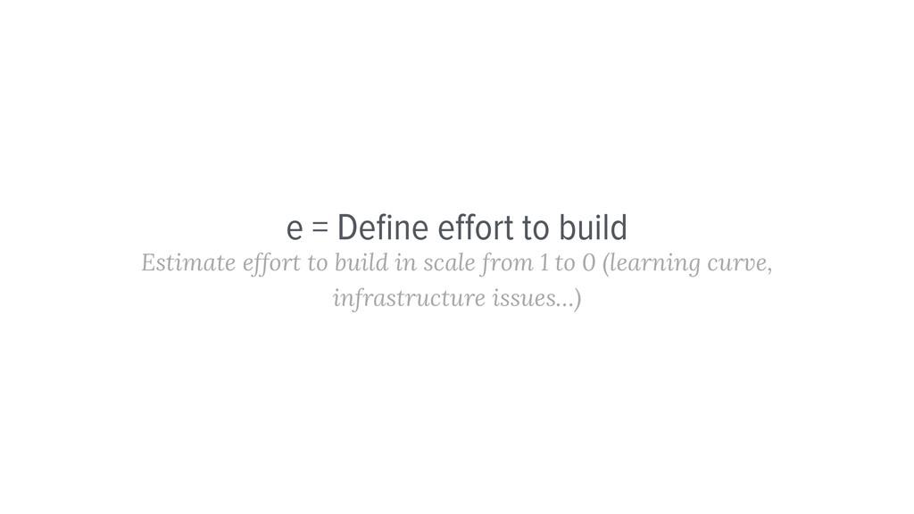 e = Define effort to build Estimate effort to bui...