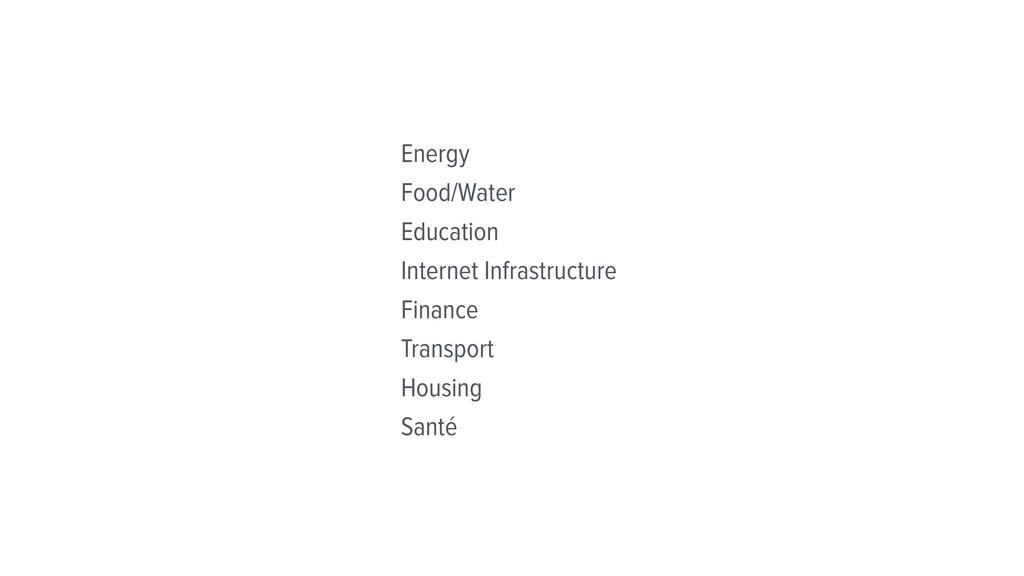 Energy Food/Water Education Internet Infrastruc...