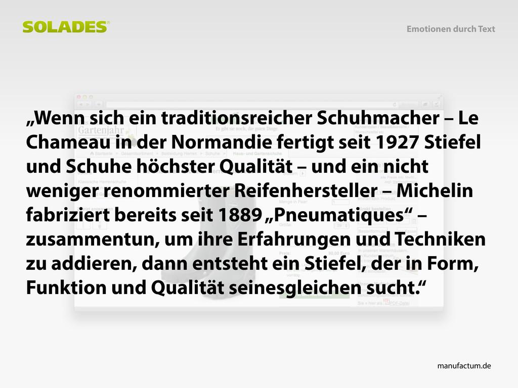 """""""Wenn sich ein traditionsreicher Schuhmacher – ..."""