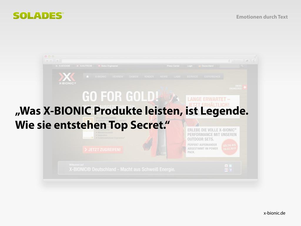 "x-bionic.de ""Was X-BIONIC Produkte leisten, ist..."