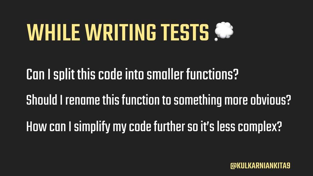 @KULKARNIANKITA9 Can I split this code into sma...