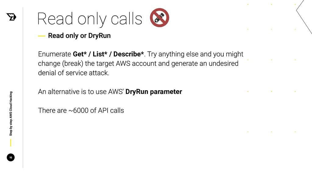 Get* / List* / Describe* DryRun parameter 16