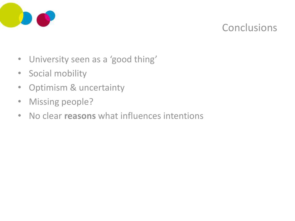 Conclusions • University seen as a 'good thing'...