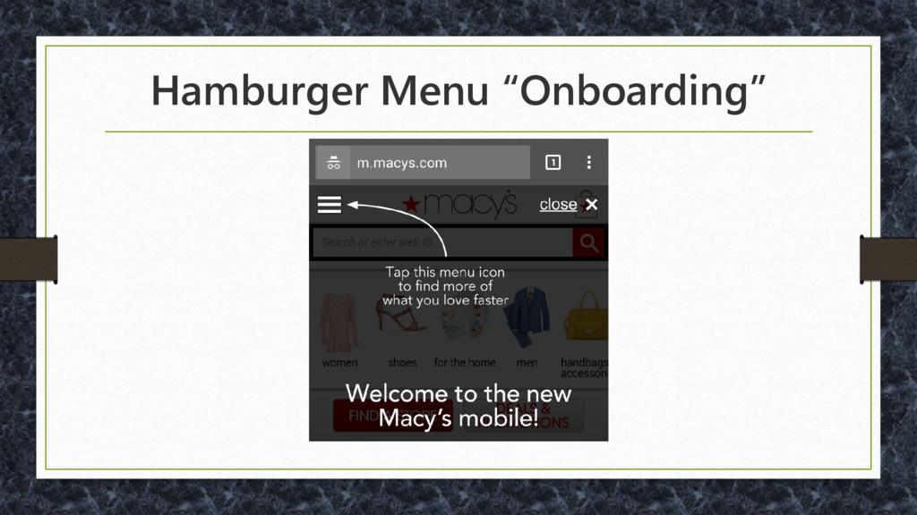 """Hamburger Menu """"Onboarding"""""""