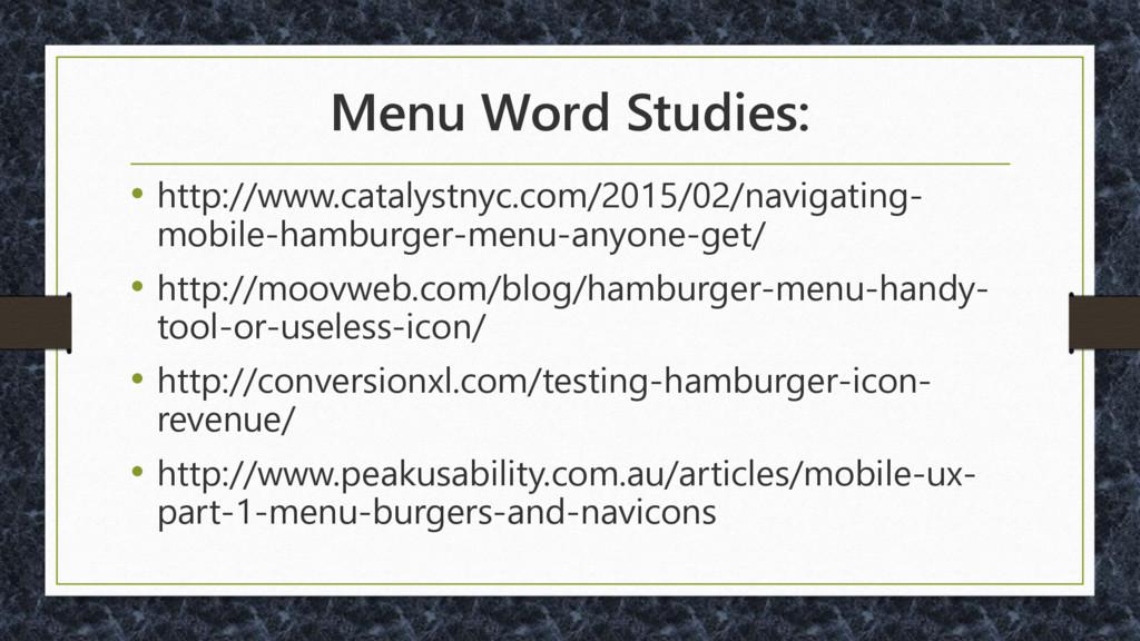 Menu Word Studies: • http://www.catalystnyc.com...