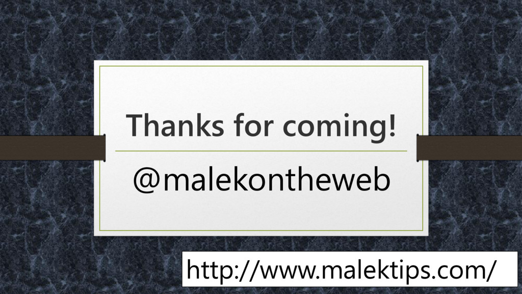 Thanks for coming! @malekontheweb http://www.ma...