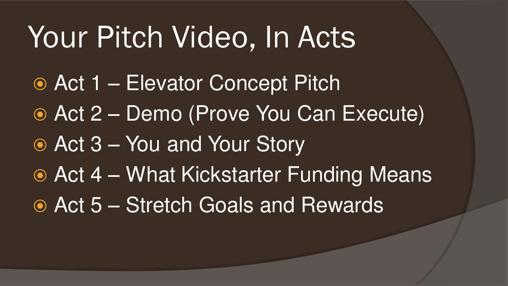 Your Pitch Video, In Acts  Act 1 – Elevator Co...