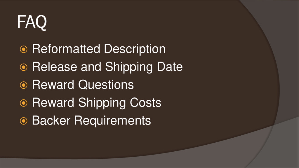 FAQ  Reformatted Description  Release and Shi...