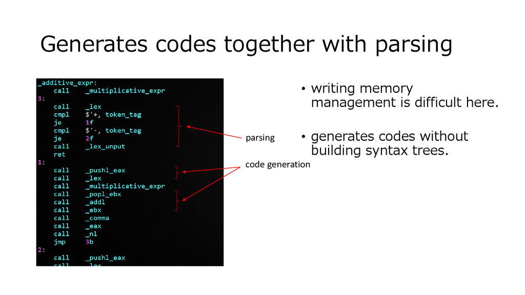 Generates codes together with parsing • writing...