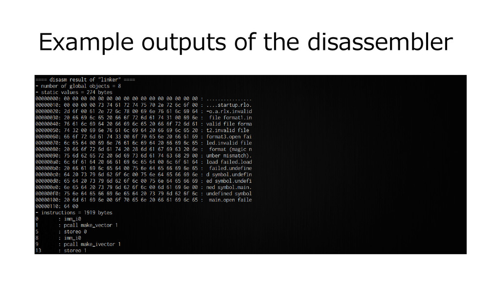 Example outputs of the disassembler