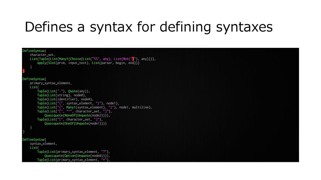 Defines a syntax for defining syntaxes